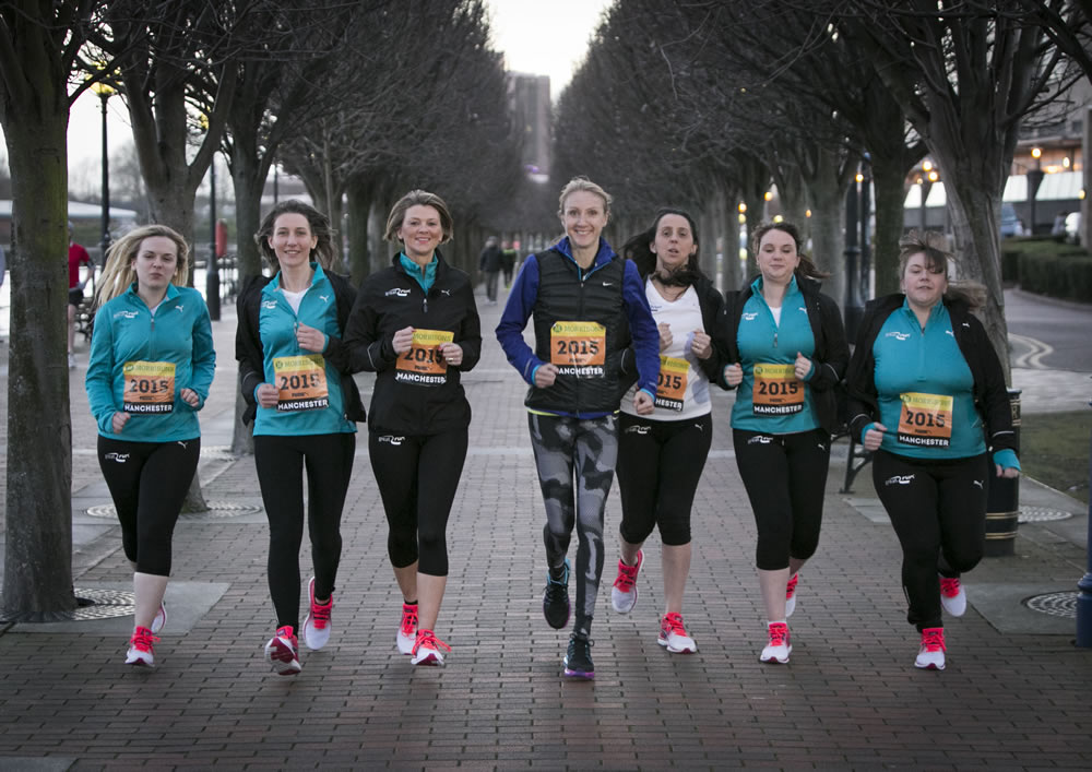 Paula Radcliffe and her Radcliffe Great Runners. From left, Michelle Kight, Lynsey Moores, Linzi Prescott, Paula Radcliffe, Mel Johnson, Clare Ivers and Louise Green.