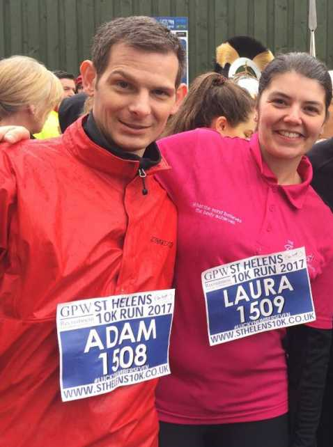 Adam Alderson (now ambassador for the SPF) followed in Stephen's footsteps and underwent the transplant for pseudomyxoma. Here he is running the St. Helens 10k, with his wife Laura, only 18 months post op! The gift of life!