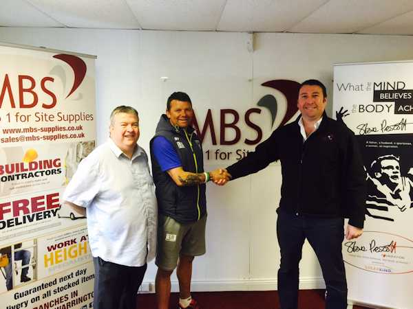 MBS Site Supplies Ltd Managing Director Carl Oates meets SPF Ambassador Lee Briers and SPF's Martin Blondel